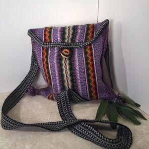 BoHo chic purple cross body alpaca button purse